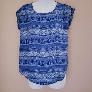 Blue Elephant Short Sleeve Top